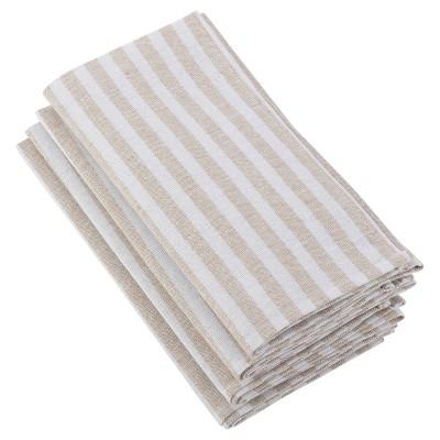 4pk Light Brown Striped Printed Design Napkin 20  - Saro Lifestyle®