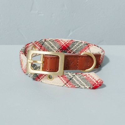 Holiday Plaid with Leather Accent Pet Collar Red/Green - Hearth & Hand™ with Magnolia