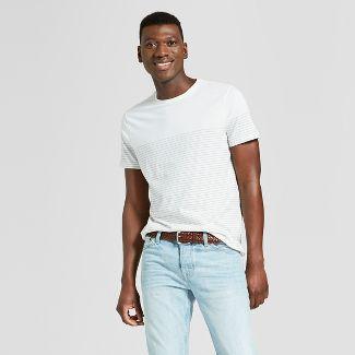Men's Striped Standard Fit Short Sleeve Crew Neck Novelty T-Shirt - Goodfellow & Co™ True White L