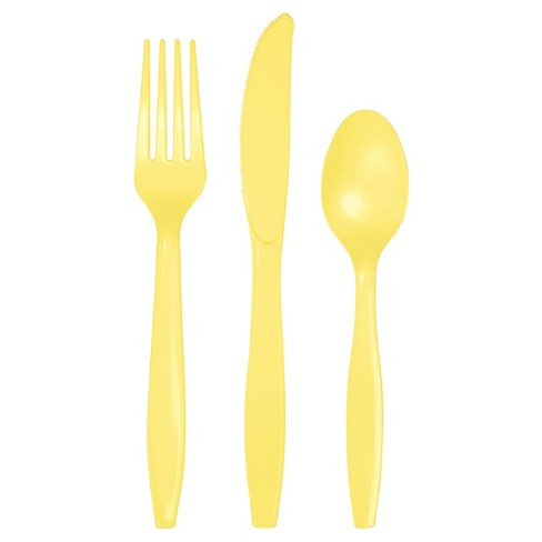 24ct Mimosa Yellow Assorted Plastic Disposable Silverware Flatware - image 1 of 3