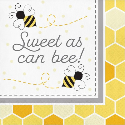 "Bumblebee 48ct ""Sweet As Can Be"" Baby Shower Napkins"
