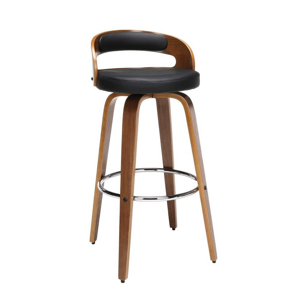 "Image of ""30"""" Low Back Bentwood Frame Mid-Century Modern Swivel Seat Stool with Vinyl Back and Seat Cushion Black - OFM"""