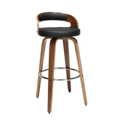 """30"""" Low Back Bentwood Frame Mid-Century Modern Swivel Seat Stool with Vinyl Back and Seat Cushion - OFM - image 1 of 4"""