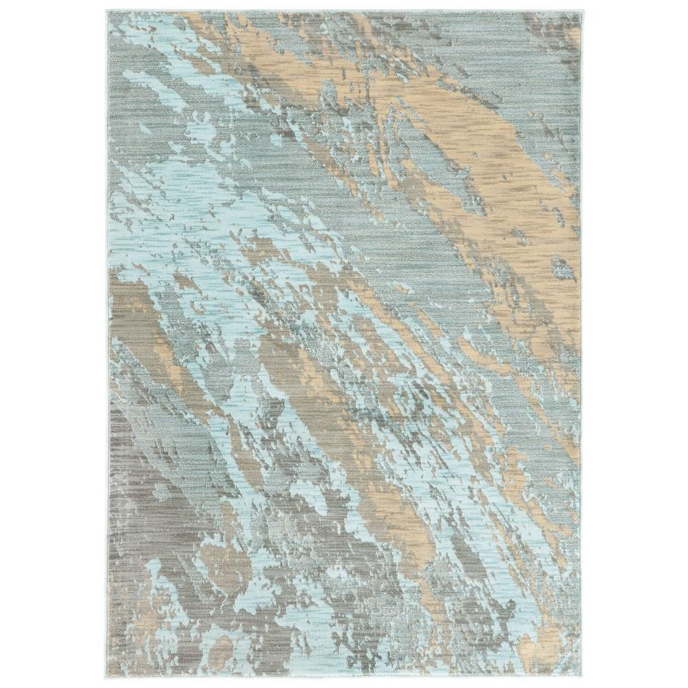 San Blas Distressed Abstract Rug Blue/Gray