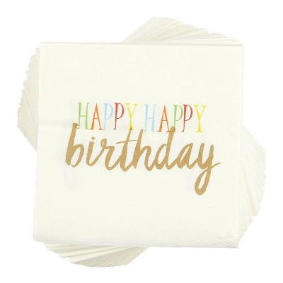 """Juvale 100-Pack Rainbow Happy Birthday Disposable Paper Napkins Party Supplies 5""""x5"""""""
