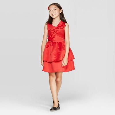Girls' Satin Dress - Cat & Jack™ Red XS