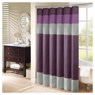 Salem Solid Pieced Polyester Shower Curtain w/ Pintucking -Purple