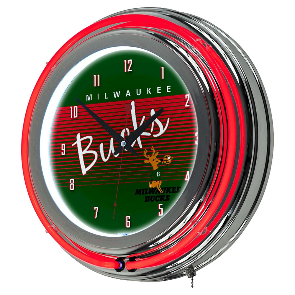 Nba Milwaukee Bucks Team Red Logo Wall Clock