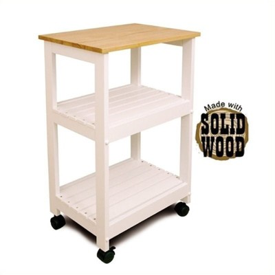 225 & Wood Microwave Utility Butcher Block Kitchen Cart in White - Bowery Hill