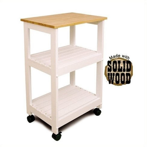 Wood Microwave Utility Butcher Block Kitchen Cart in White - Bowery Hill