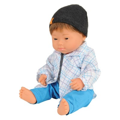 """Miniland Boy Doll with Down Syndrome - 15"""" Doll with Outfit"""