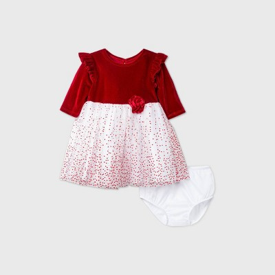 Mia & Mimi Baby Girls' Ruffle Long Sleeve Lacquer Dot Dress - Red 0-3M