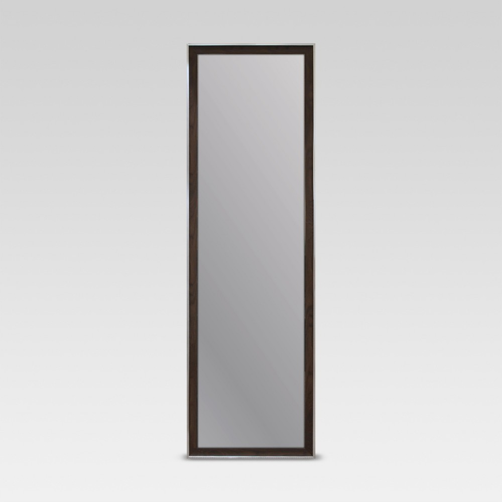 Image of Rectangle Leaner Floor Mirror, Brown with Metal Foil Trim - Threshold