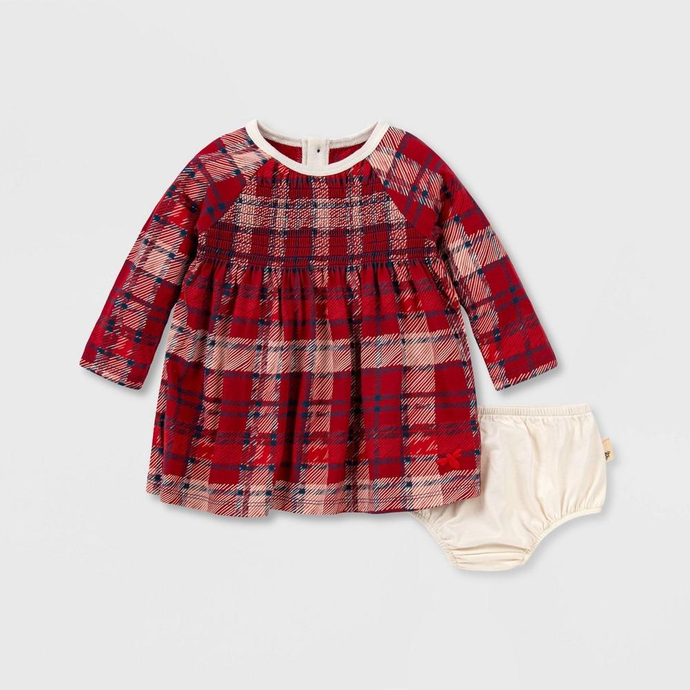 Burt 39 S Bees Baby 174 Baby Girls 39 Organic Cotton Plaid Dress And Diaper Cover Set Pink 3m
