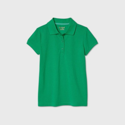Girls' Short Sleeve Stretch Pique Uniform Polo Shirt - Cat & Jack™ Light Green
