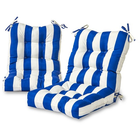 Set of 2 Outdoor Seat-Back Chair Cushions - Cabana Stripe Blue - Greendale Home Fashions - image 1 of 3