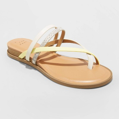Women's Jasmine Strappy Sliver Wedge Sandals - A New Day™