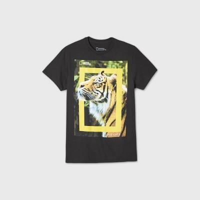 Men's National Geographic Tiger Face Short Sleeve Graphic Crewneck T-Shirt - Black