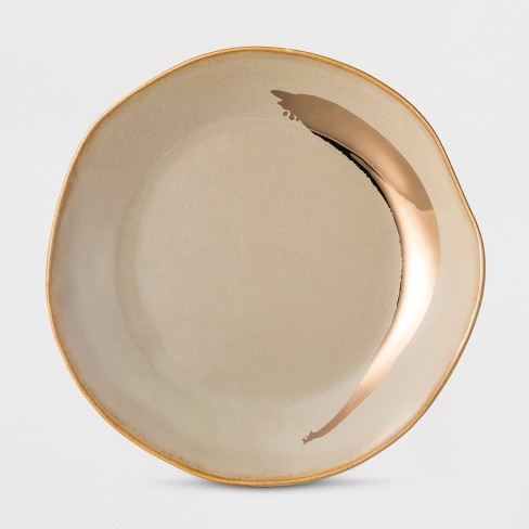 Cravings by Chrissy Teigen Stoneware Dessert Plate Gray/Gold Swoosh - image 1 of 1