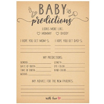 Sparkle and Bash Set of 50 Baby Predictions and Advice Cards for Shower Game Activity & Gender Reveal Party, Kraft