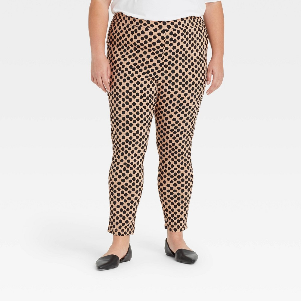 Women 39 S Plus Size Polka Dot Skinny Cropped Pants Who What Wear 8482 Cream 26w