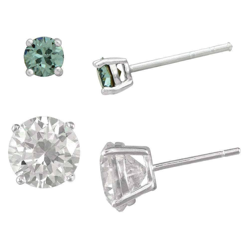 Women's Round Denim Crystal and Round Clear Crystal Stud Earring Set in Sterling Silver - Blue/Clear (6mm/4mm)