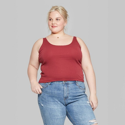 c2b2cdb6893c2 Women s Plus Size Lace Edge Ribbed Tank - Wild Fable™ Berry Flick ...