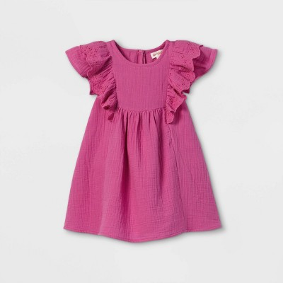 Toddler Girls' Ruffle Sleeve Dress - Cat & Jack™ Pink
