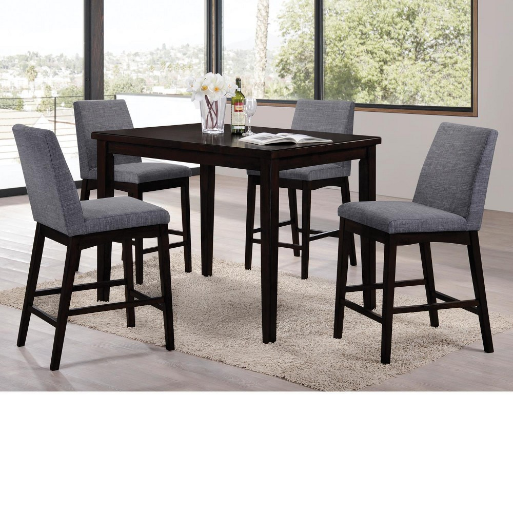 Image of Domum 5pc Dining Set Black/Gray - Home Source Industries, Black Gray