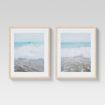 "(Set of 2)16"" x 20"" Beach Matted Framed Wall Art Blue - Threshold™"