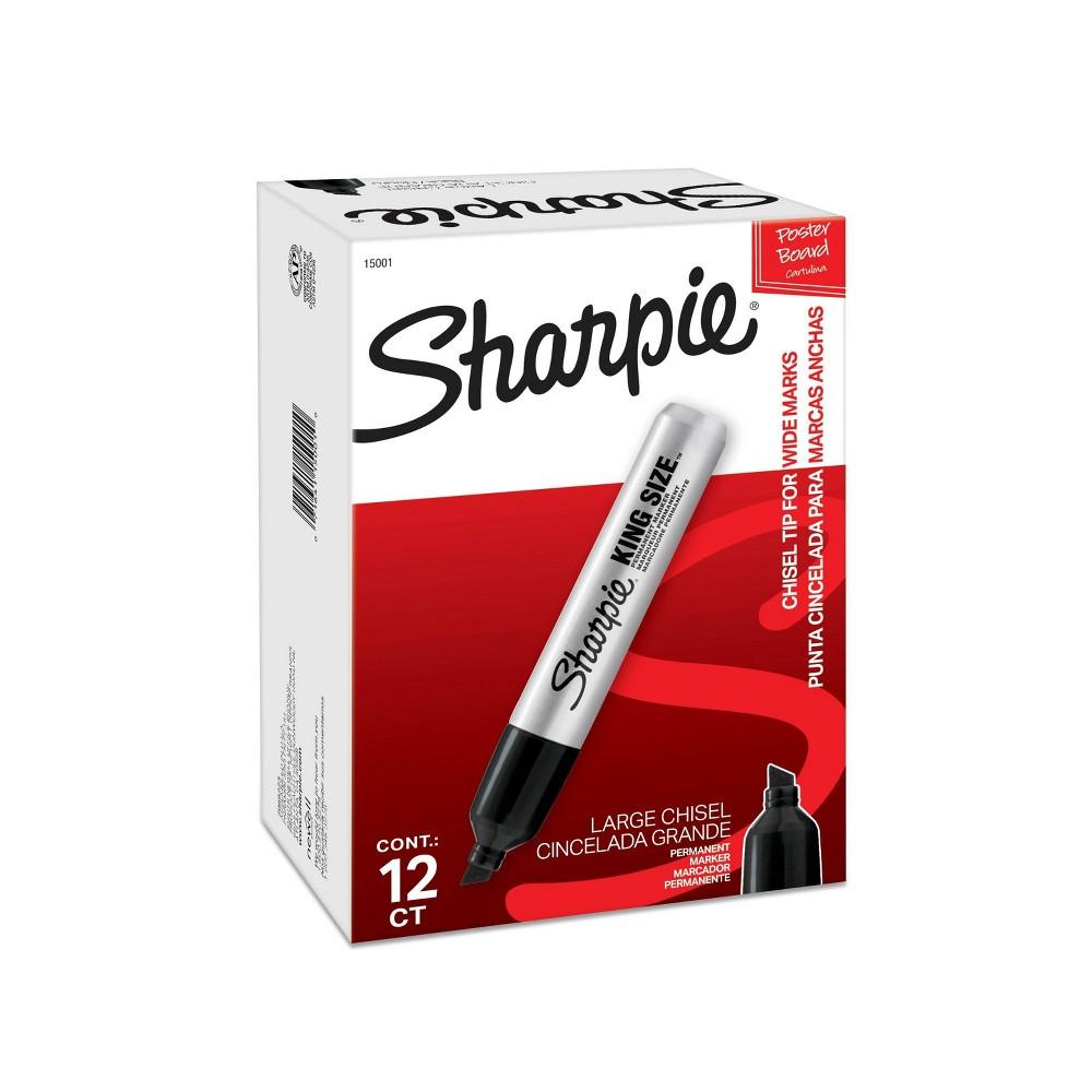 Sharpie 12ct Chisel Tip King Size Permanent Marker - Black Top