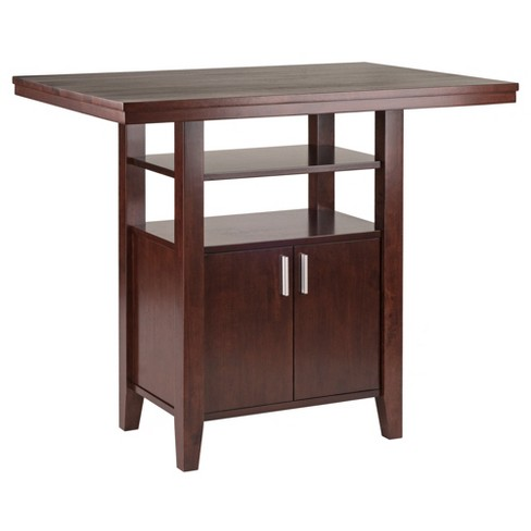 Albany High Table with Cabinet Walnut - Winsome - image 1 of 4