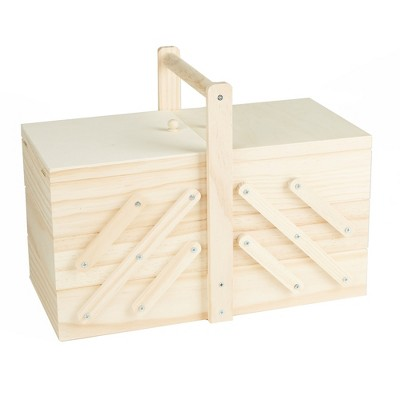 Mind Reader Wood Sewing Box Organizer for Needles and Thread