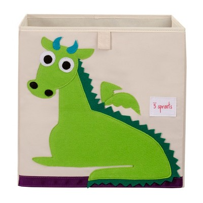 3 Sprouts Kids Childrens Collapsible Felt 13x13x13 Inch Storage Cube Bin Box for Cubby Shelves, Green Dragon