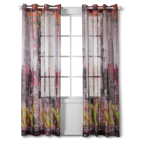 "Tag City Printed Sheer - Gray (54""x84"") - image 1 of 2"