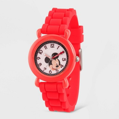 Kids' Disney Mickey Mouse Plastic Time Teacher Silicon Strap Watch - Red