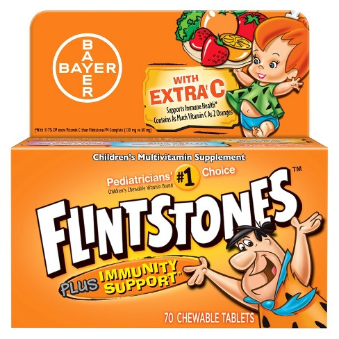 Flintstones Multivitamins Plus Immunity Support Dietary Supplement Chewable Tablets - Mixed Fruit - 70ct - image 1 of 1