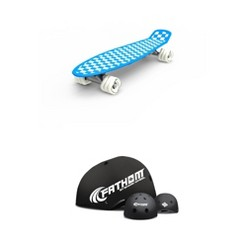 Shark Wheel Fathom by Shark Wheel Cruiser Skateboard, Blue w/ Fathom XL/L Skateboard Helmet