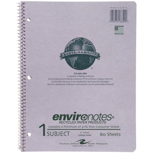 Environotes Recycled Spiral Notebook, 8-1/2 x 11 Inches, College Ruled, 80 Sheets - image 1 of 1