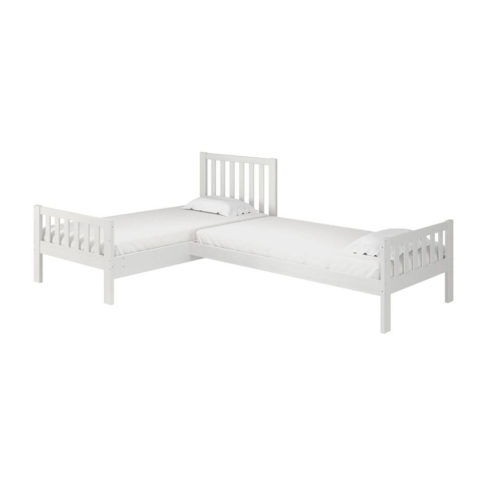 Twin Aurora Corner Bed White - Alaterre Furniture