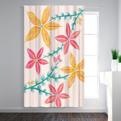 Americanflat Caladenia Orchids by Modern Tropical Blackout Rod Pocket Single Curtain Panel 50x84