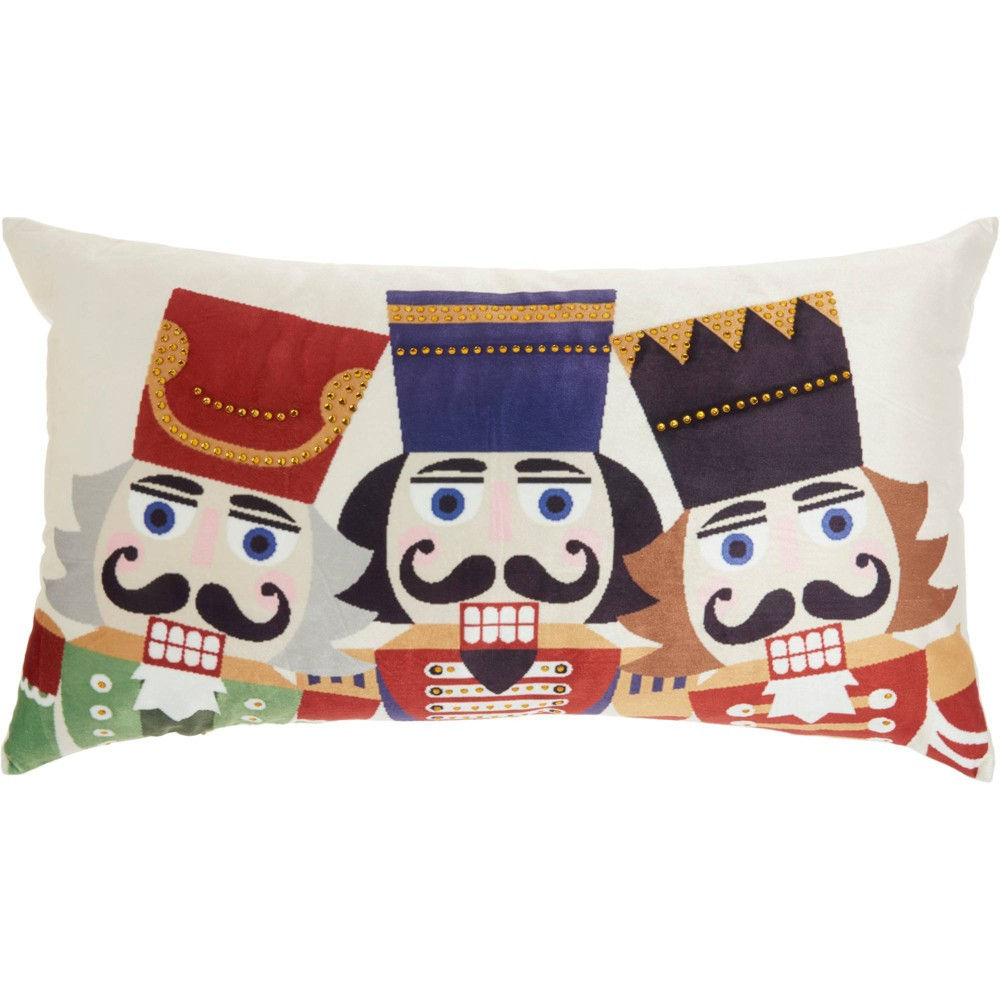 Image of 3 Nutcrackers Christmas Throw Pillow -Nourison, White Multicolored