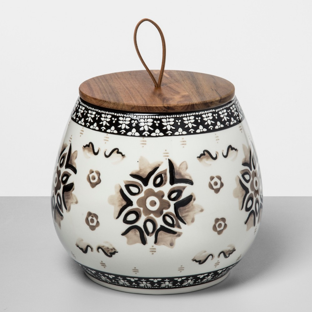 114oz Stoneware Floral Canister Gray - Opalhouse, Black Gray White
