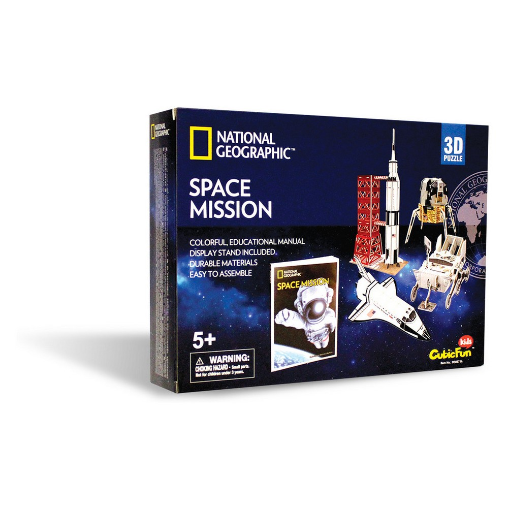National Geographic Space Mission 80pc 3D Puzzle Fun and educational National Geographic 3D puzzles that provide kids the ability to build one of six different 3D puzzles and then display and play with their creations. Kids can also read about each puzzle theme with an enclosed full color booklet (approximately 30 pages). All puzzles are made of sturdy, quality foam core and include easy to understand instructions. Available sets include animals (Amazon Rain Forest, Undersea Adventure, Dinosaurs, and African Wildlife) and Space (Space Exploration and Space Mission). Ages 5 and up. Gender: Unisex.