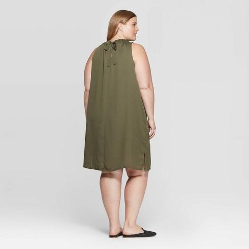 Women\'s Plus Size Sleeveless Mock Turtleneck Halter Dress - Prologue™ Green  1X