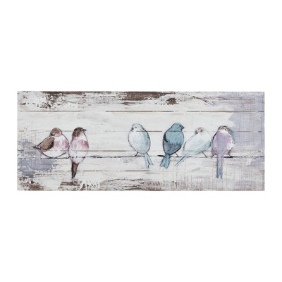 Perched Birds Hand Painted Wood Plank White/Gray