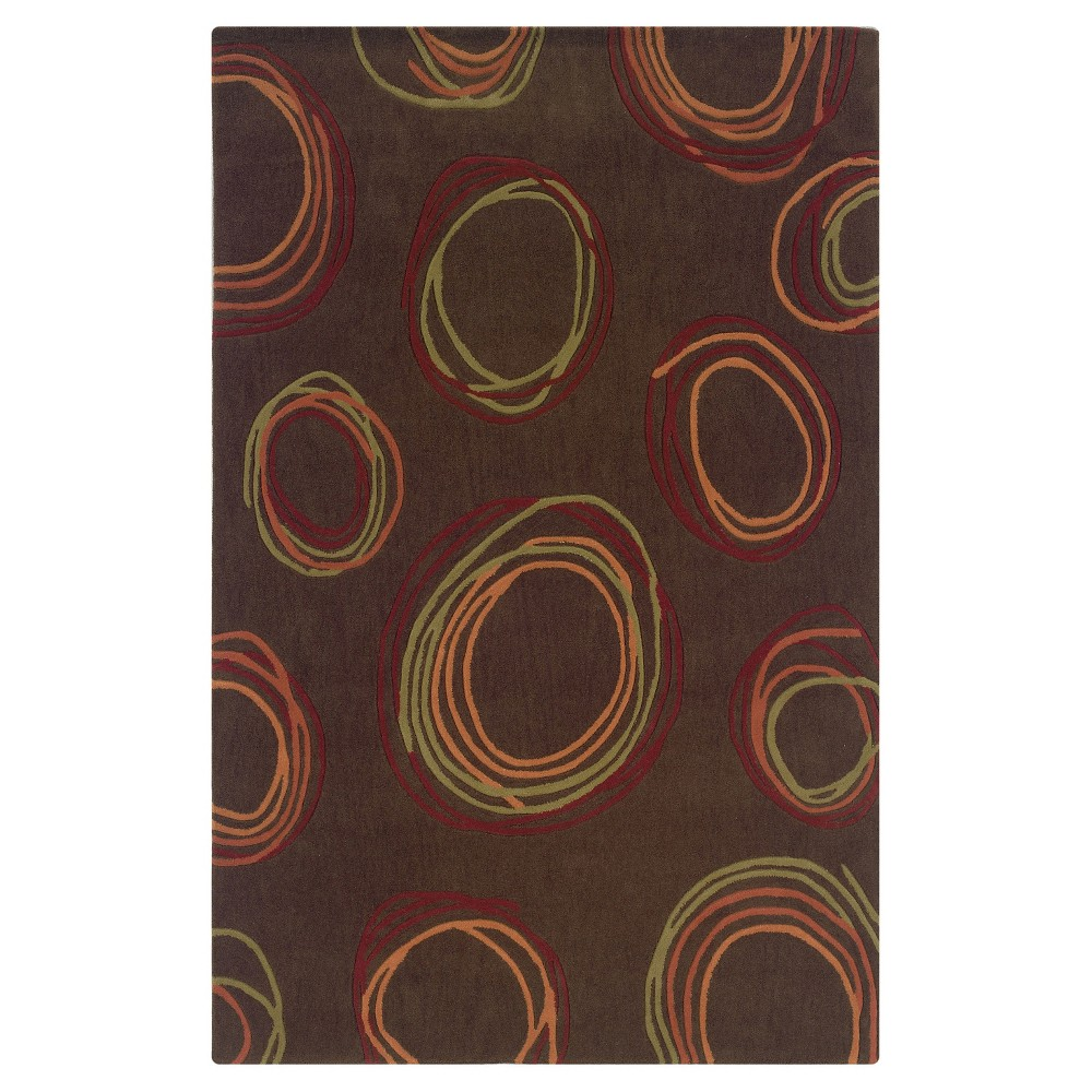 Trio Collection Contemporary Swirl Area Rug - Chocolate (Brown) / Rust (8' X 10')