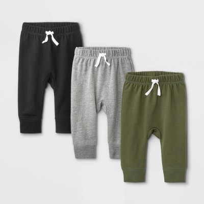 Baby Boys' 3pk French Terry Jogger Pants - Cat & Jack™ Olive Green/Gray/Black 3-6M