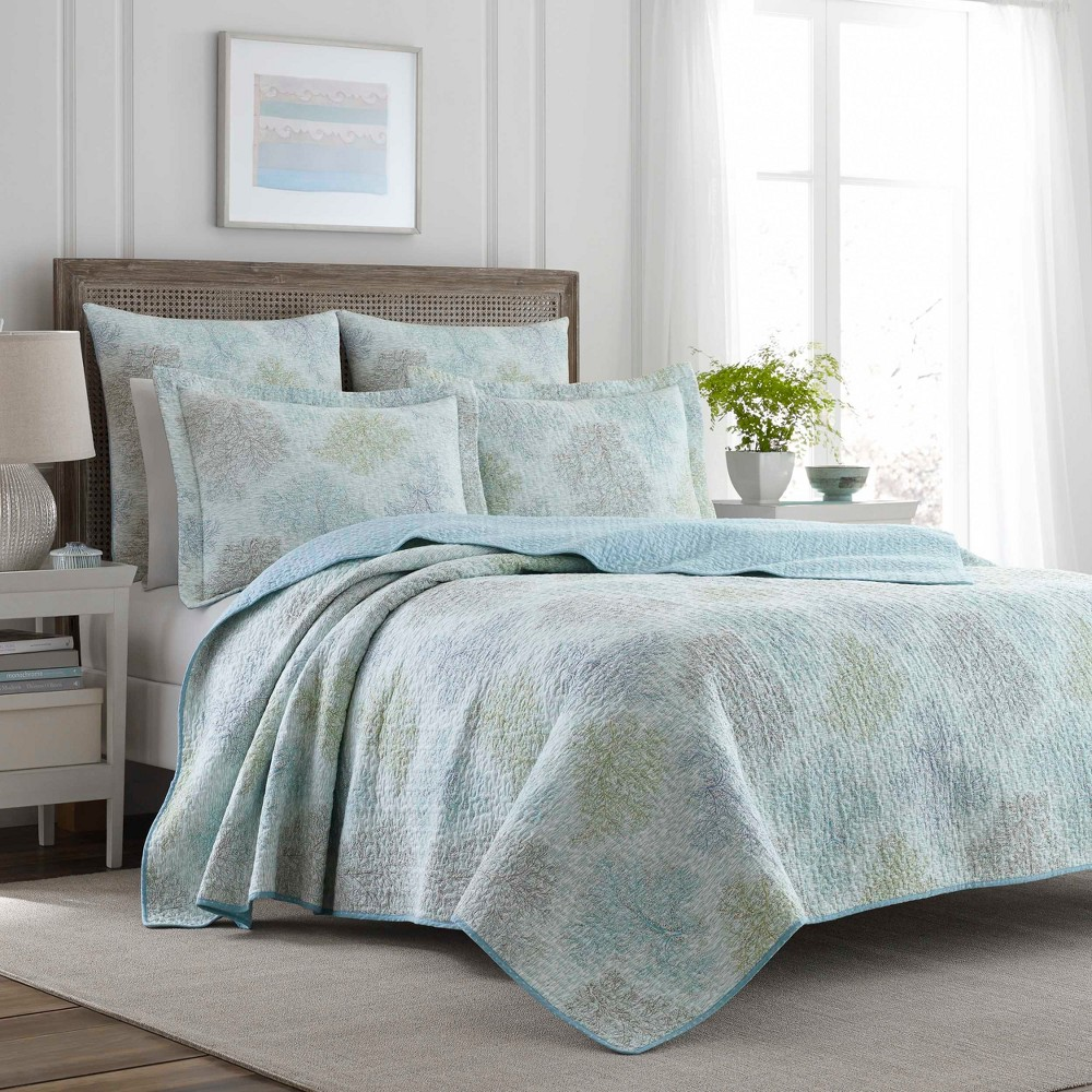 Image of Blue Saltwater Quilt Set (Full/Queen) - Laura Ashley