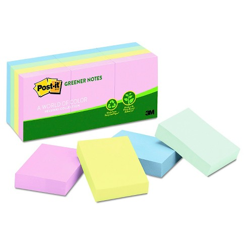 Post-it® Greener Notes Recycled Notes, 1-1/2 x 2, Sunwashed Pier - 100 Sheet pk - image 1 of 1